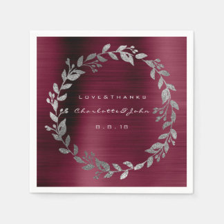 Burgundy Shimmering Urban  Silver Wreath Name Paper Napkin