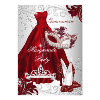 Burgundy Silver Dress masquerade Quinceanera mask Card