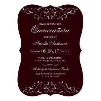Burgundy Silver Elegant Quinceanera Invitation