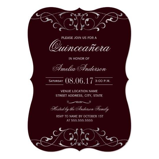burgundy silver elegant quinceanera invitation zazzle com