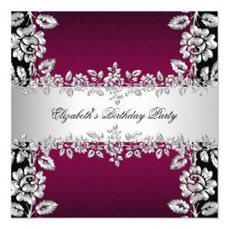 Burgundy Silver Floral Black Birthday Party Card