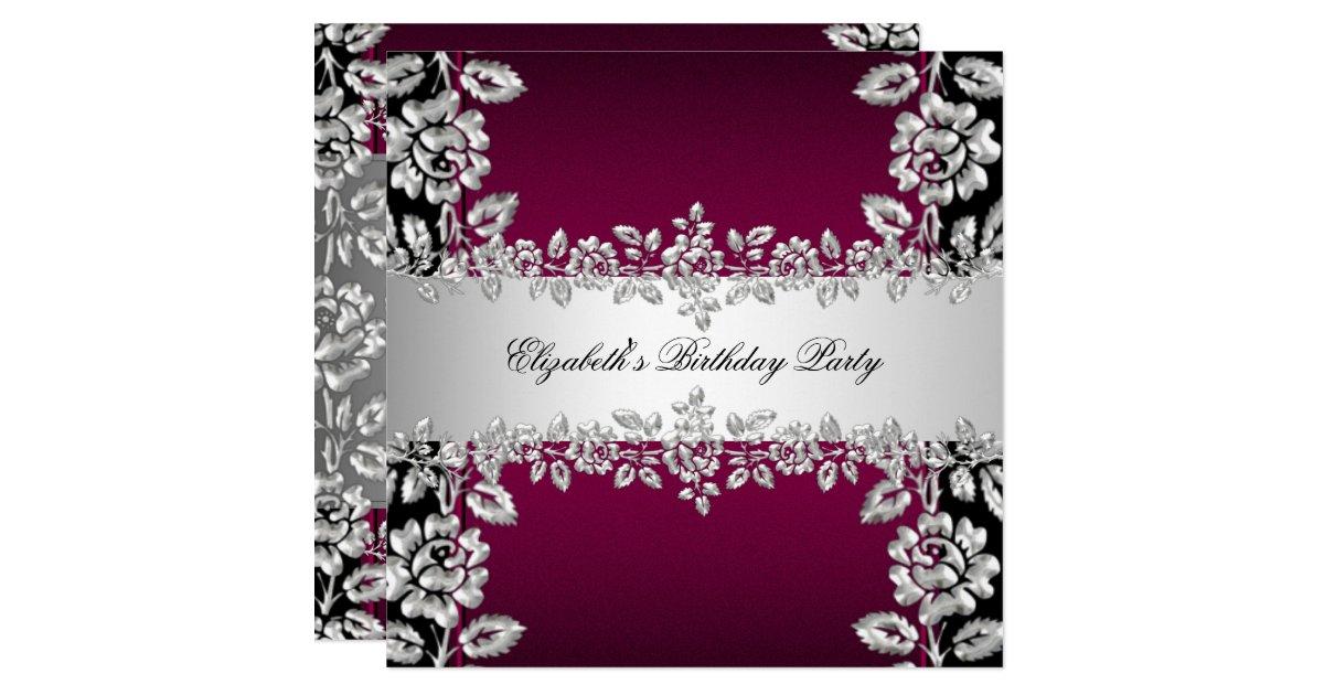 Burgundy Silver Floral Black Birthday Party Invitation
