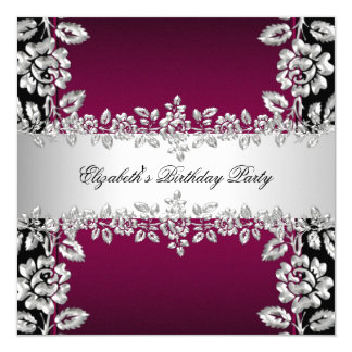 Burgundy Silver Floral Black Birthday Party 5.25x5.25 Square Paper Invitation Card