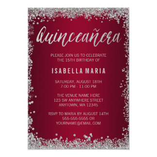 Burgundy Silver Glitter Quinceanera 15th Birthday Card