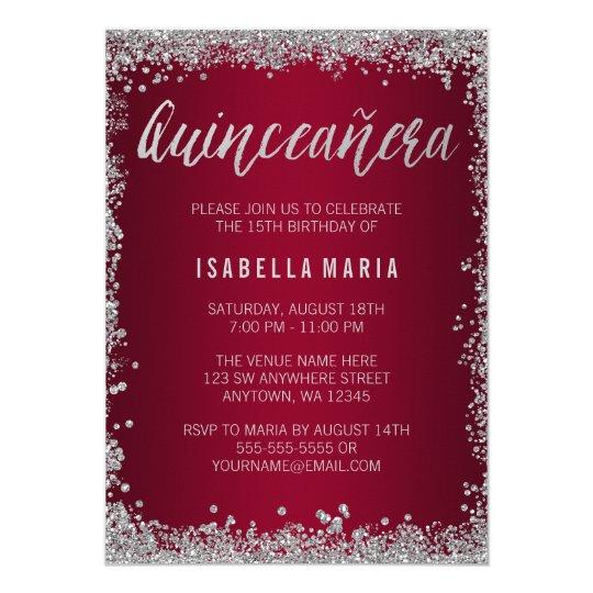Burgundy silver glitter quinceanera 15th birthday invitation burgundy silver glitter quinceanera 15th birthday invitation filmwisefo