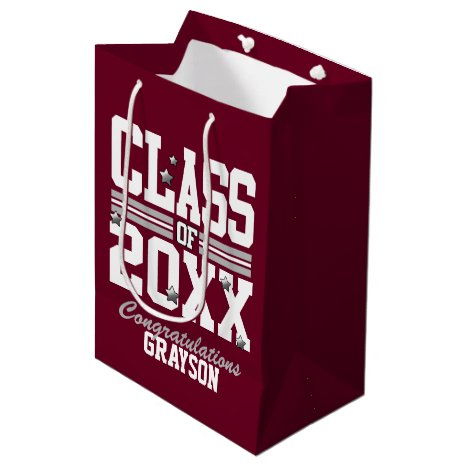 Burgundy Silver Graduating Class Year Medium Gift Bag