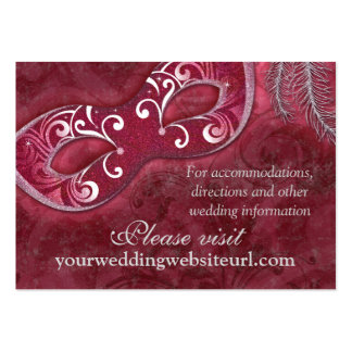 Burgundy Silver Masquerade Ball Wedding Website Large Business Cards (Pack Of 100)