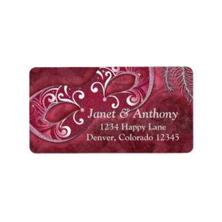 Burgundy Silver Masquerade Wedding Address Label