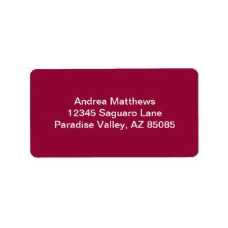 Burgundy Solid Color Label