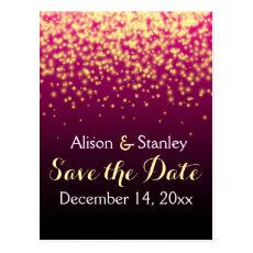 Burgundy sparkling lights wedding Save the Date Postcard