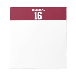 Burgundy Sporty Team Jersey Notepad