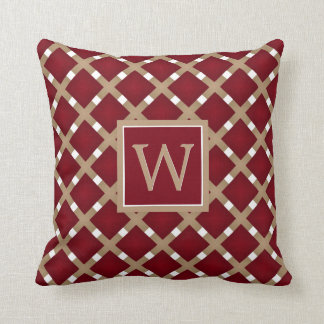Burgundy Squares on Tan and White Throw Pillow