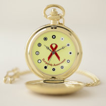 Burgundy Standard Ribbon (Bf) by K Yoncich Pocket Watch