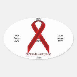Burgundy Standard Ribbon by Kenneth Yoncich Oval Sticker