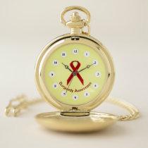 Burgundy Standard Ribbon (Cf) by K Yoncich Pocket Watch