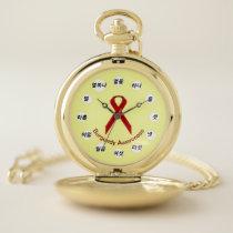 Burgundy Standard Ribbon (Kf) by K Yoncich Pocket Watch