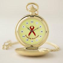 Burgundy Standard Ribbon (Rf) by K Yoncich Pocket Watch