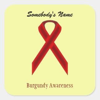Burgundy Standard Ribbon Square Sticker