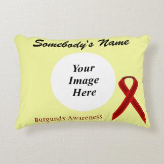 Burgundy Standard Ribbon Template Accent Pillow
