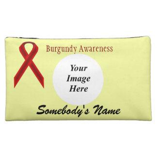 Burgundy Standard Ribbon Template Cosmetic Bag