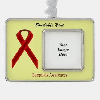 Burgundy Standard Ribbon Template (H-O) Silver Plated Framed Ornament