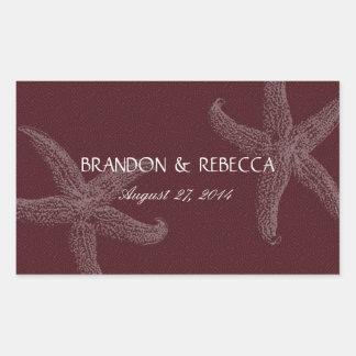 Burgundy Starfish Wedding Water Bottle Wrapper Rectangular Sticker