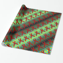 Burgundy Stnd Ribbon Pattern by Kenneth Yoncich Wrapping Paper