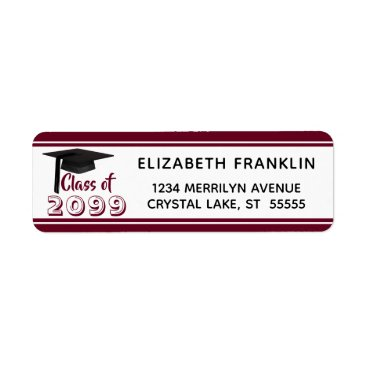 Aztec Themed Burgundy Striped Class of 20XX | Editable Color Label
