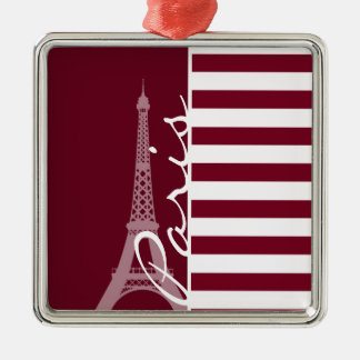 Burgundy Stripes; Eiffel Tower Christmas Ornaments