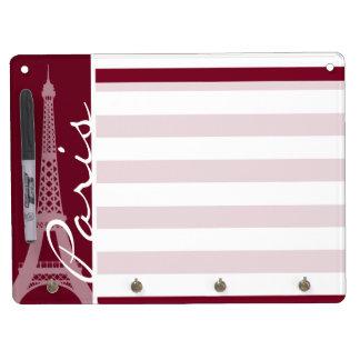 Burgundy Stripes; Eiffel Tower Dry Erase Board With Keychain Holder