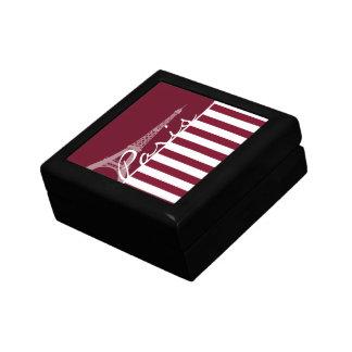 Burgundy Stripes; Eiffel Tower Jewelry Box