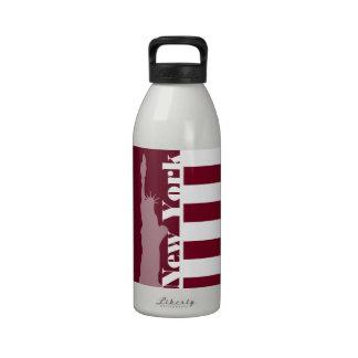 Burgundy Stripes; New York Drinking Bottles