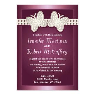 Burgundy Studded Butterfly Wedding Invitations