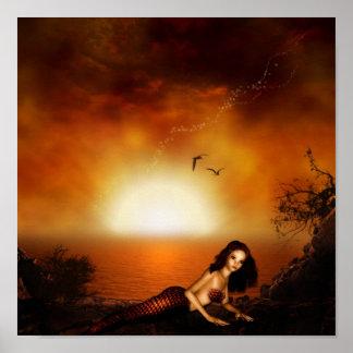 Burgundy Sunset Mermaid Poster Print