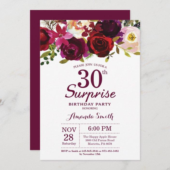 Templett birthday invites Burgundy floral invitation 30th 50th Floral birthday party invitation 40th Birthday invitation