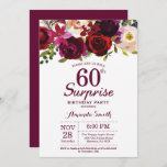 """Burgundy Surprise Floral 60th Birthday Party Invitation<br><div class=""""desc"""">Burgundy Floral Surprise 60th Birthday Party Invitation for women. Burgundy Red Birthday Party Invite. Burgundy Watercolor Floral Flower. 13th 16th 18th 20th 21st 30th 40th 50th 60th 70th 80th 90th 100th, Any Ages. Printable Digital. For further customization, please click the """"Customize it"""" button and use our design tool to modify...</div>"""
