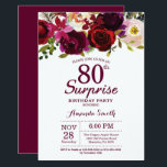 "Burgundy Surprise Floral 80th Birthday Party Invitation<br><div class=""desc"">Burgundy Floral Surprise 80th Birthday Party Invitation for women. Burgundy Red Birthday Party Invite. Burgundy Watercolor Floral Flower. 13th 16th 18th 20th 21st 30th 40th 50th 60th 70th 80th 90th 100th, Any Ages. Printable Digital. For further customization, please click the ""Customize it"" button and use our design tool to modify...</div>"