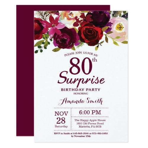 Surprise Party Invitations With 2 Photos Floral 80th Birthday Invitation