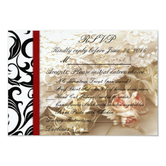 Burgundy Swirl Wedding RSVP Card