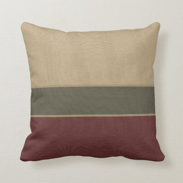 Burgundy Tan Colorblock Pattern Throw Pillow | Zazzle.com