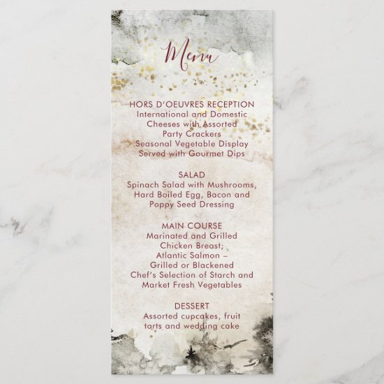 Burgundy Text Gray Gold Watercolor Alpine Mountain Menu
