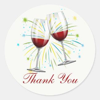 Burgundy Thank You Wine Glass Red Vineyard Wedding Classic Round Sticker
