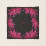"""Burgundy to Pink Water Lily Square Chiffon Scarf<br><div class=""""desc"""">Monogrammed Black Background with Burgundy to Pink Water Lily Square Chiffon Scarf. For the three square options, not for the long or longer option. Colors used: Background - Black Monogram - Maroon #b9206e Water Lilies - Burgundy #7e0231, Hibiscus Pink #bf2776 (medium red violet), Cerise Pink #d82a7b, brown #2b060d and Brown...</div>"""