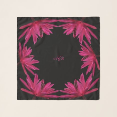 Burgundy to Pink Water Lily Square Chiffon Scarf