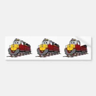 Burgundy Train Engine Cartoon Bumper Sticker