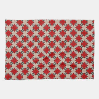 Burgundy Trellis Links Pattern Background Hand Towel