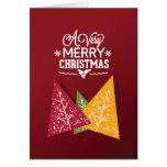 Burgundy Tri-Color Christmas Trees Greeting Card