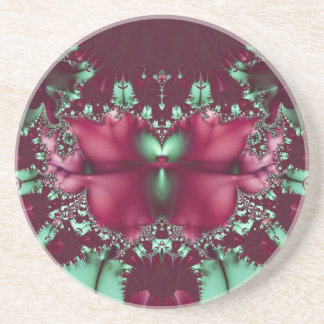 Burgundy Tulips With Aqua Abstract Coaster