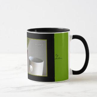 Burgundy Vase, Grasses and Cup Mug by gretchen