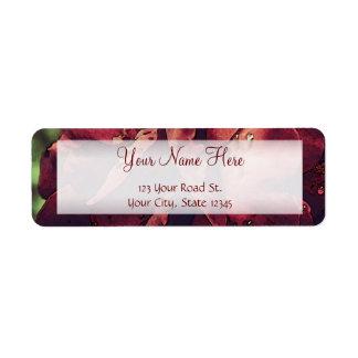 Burgundy Velvet Wet Rose Watercolor Label